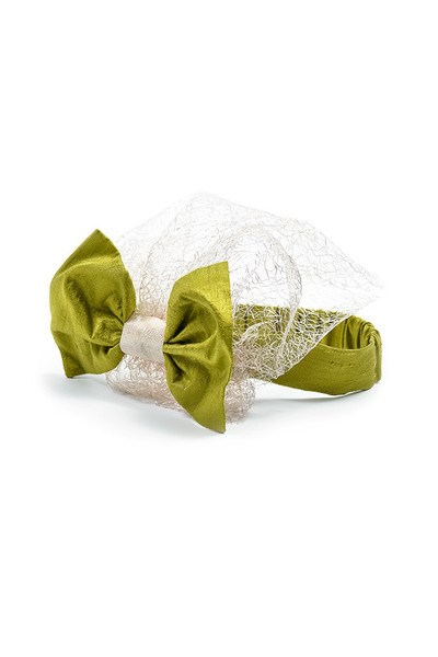 Green Silk Bow Headband with Lace Voile