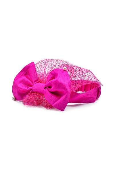 Fuchsia Silk Bow Headwrap with Lace Voile and Pearls