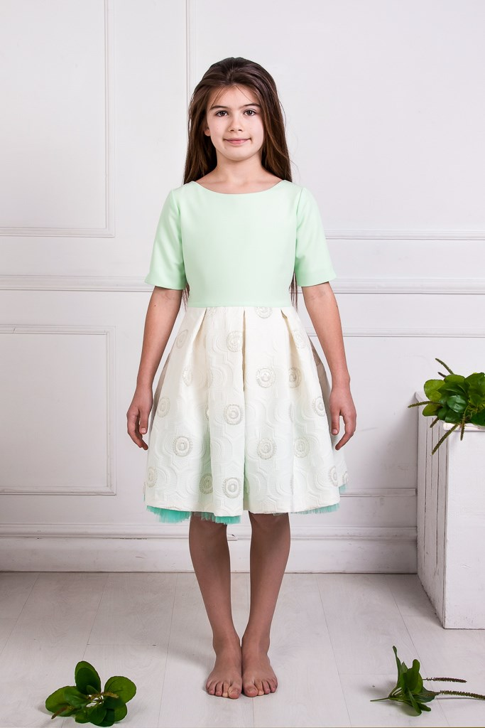 Milky White & Peppermint Green Jacquard Full Dress