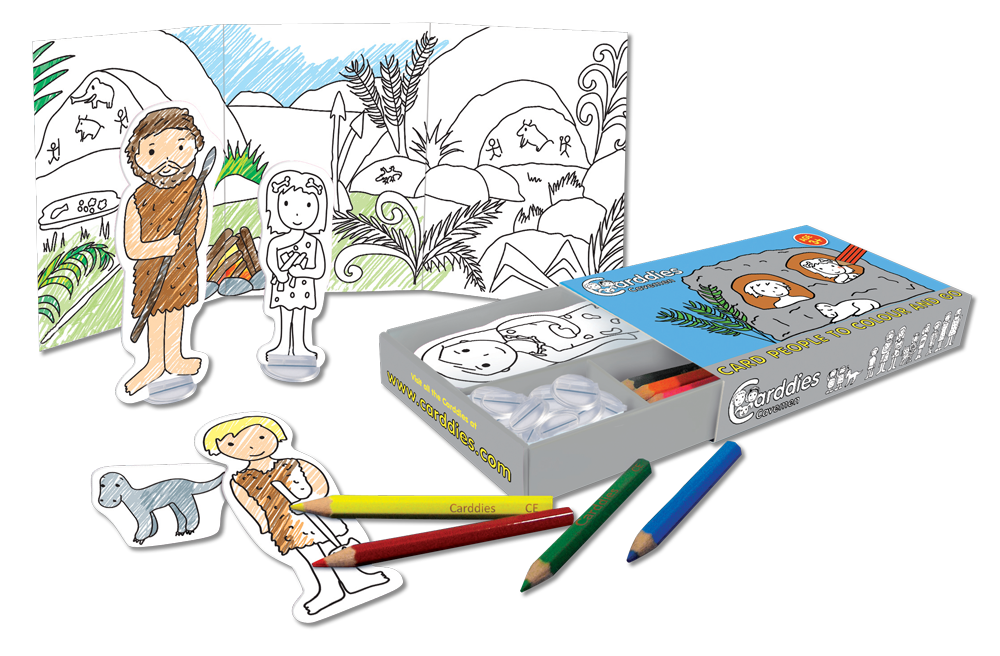 CARDDIES CAVEMEN CARD PEOPLE Colour and Play Set Portable Art Kit with Sturdy