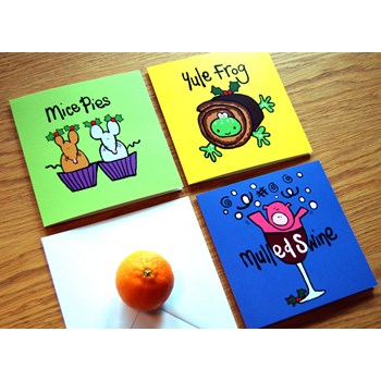 'Mice Pies' Set of three funny Christmas Cards