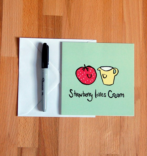 'Strawberry loves cream' All Purpose Greetings Card