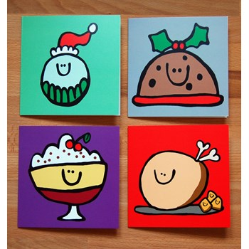 Christmas Grub Card Set (x4)