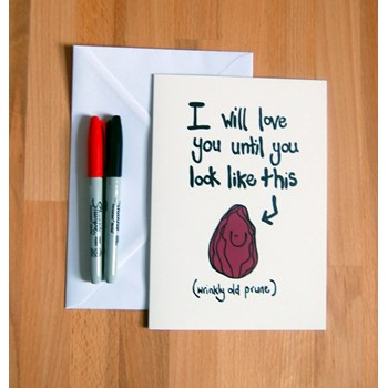 'Wrinkly Prune' Funny Anniversary Card