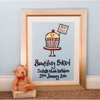 Personalised 'New Baby' Framed Illustration
