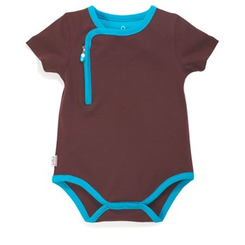 Zip Up Bodysuit - CHOCOLATE/BLUE