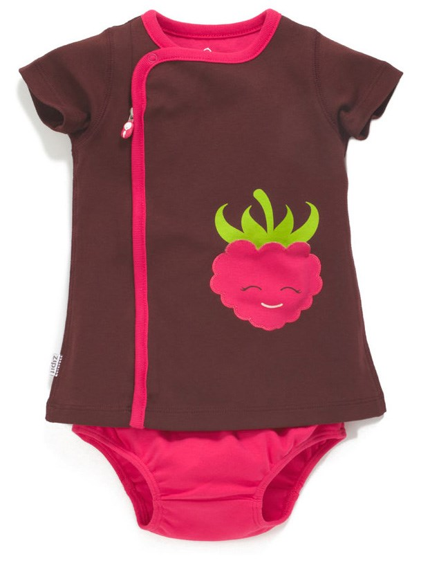 Zip Up Raspberry Appliqué Pocket Dress CHOCOLATE/PINK