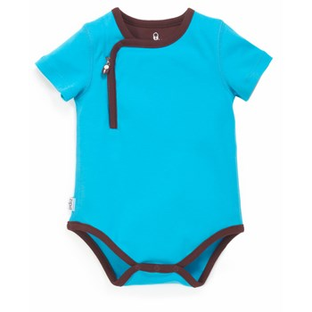 Zip Up Bodysuit - BLUE/CHOCOLATE