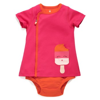 Zip Up Dreamsicle Appliqué Pocket Dress GIGGLE PINK