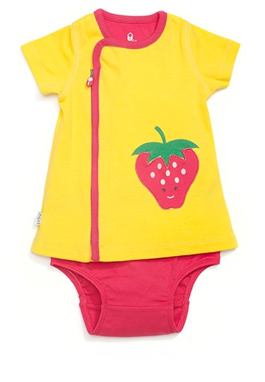 Zip Up Strawberry Appliqué Dress SUNSHINE YELLOW