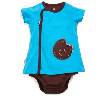 Zip Up Cookie Applique Dress BLUE/CHOCOLATE