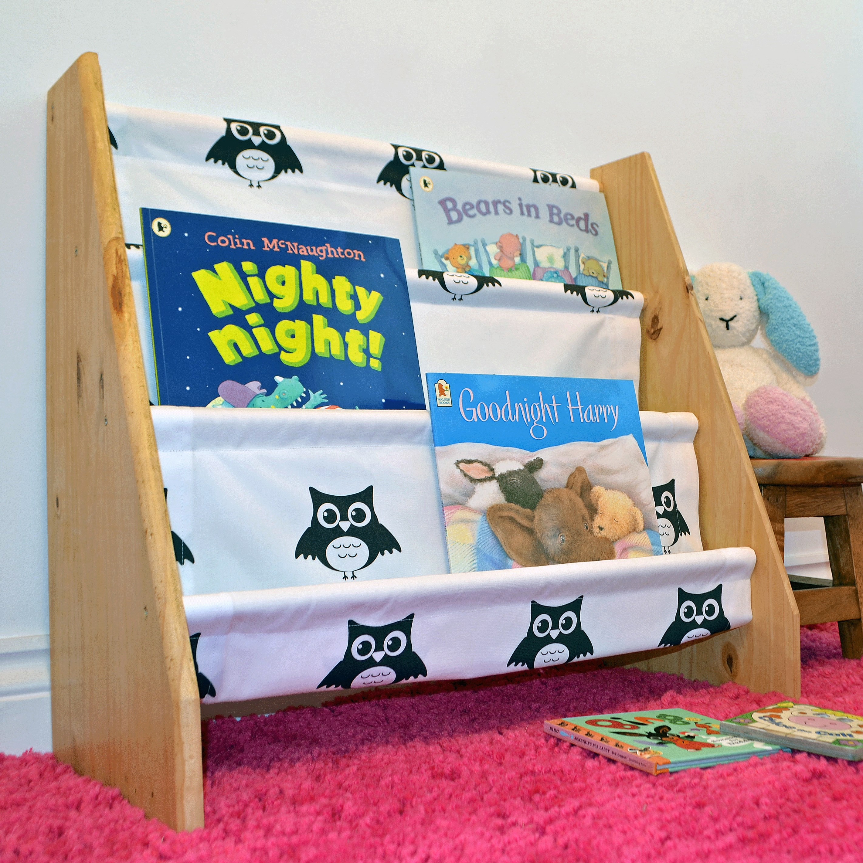 Kids wooden book sling bookcase with black and white owl print