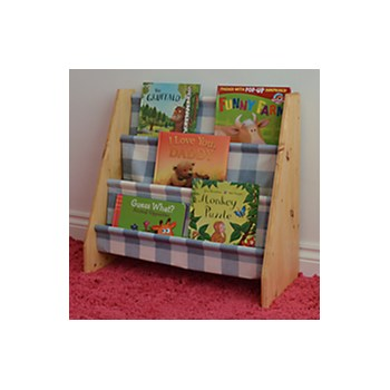 Kids wooden book sling bookcase with blue check fabric