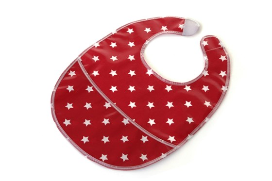 Oilcloth, wipe clean bib with pouch