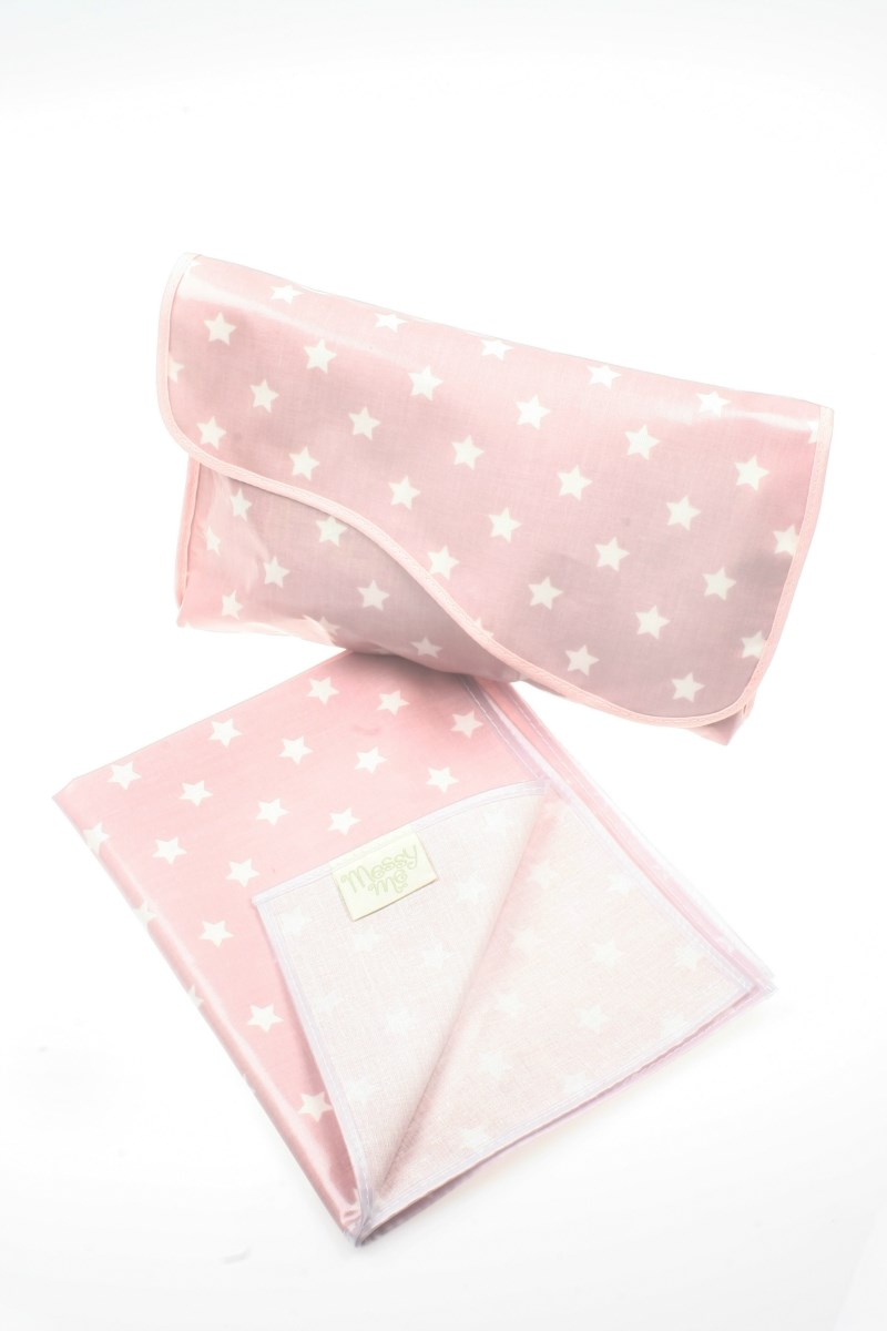 Stylish Oilcloth Mini Changing Bag & Matching Mini Changing Mat - Dusty Pink Star