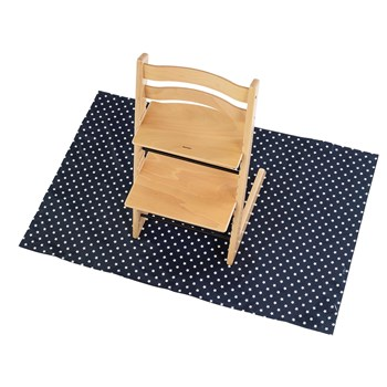 Stylish, wipe clean Splashmat to protect floor under high chair at messy mealtimes - Navy Stars