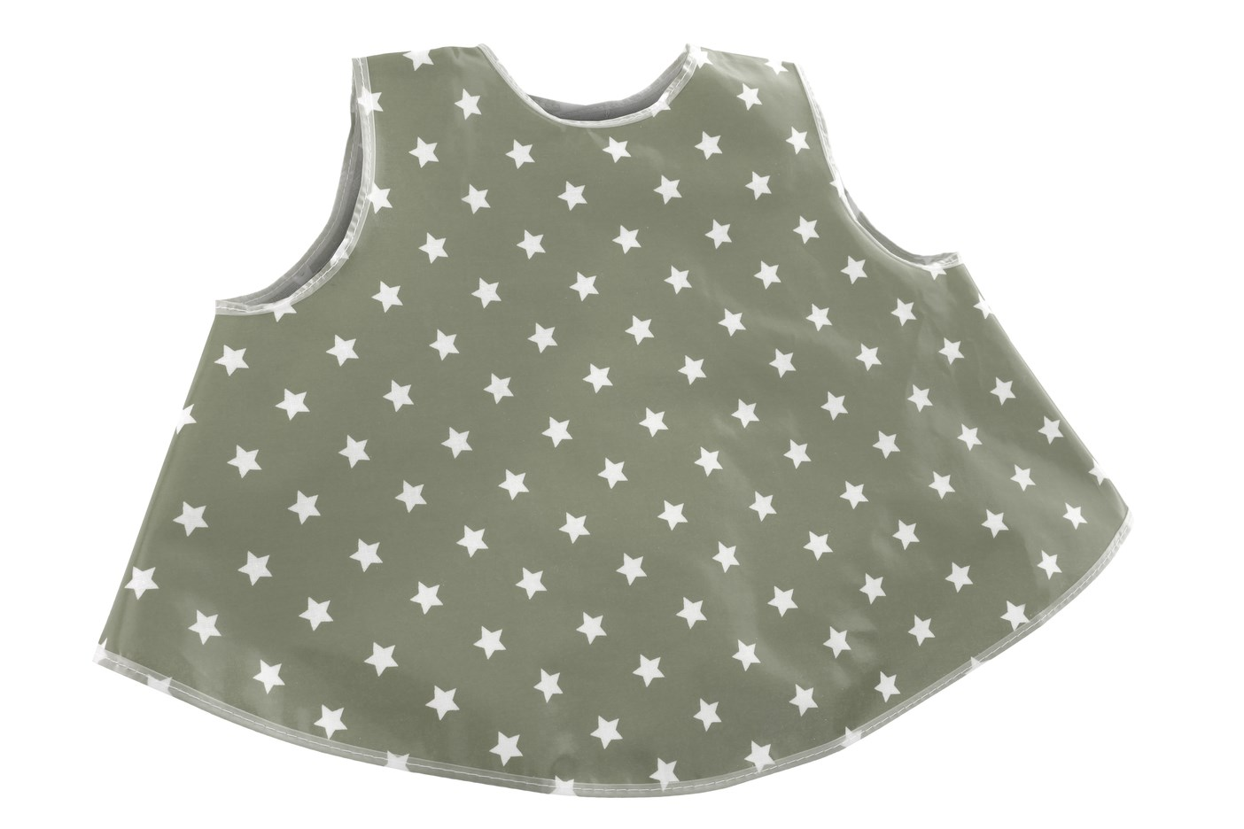 Wipe Clean Tunic Style Bib - Stylish Grey Stars
