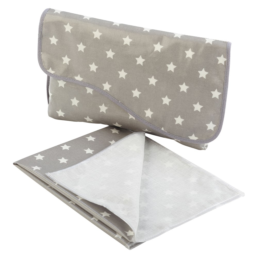 Oilcloth Mini Changing Bag & Matching Mini Mat - Grey Stars