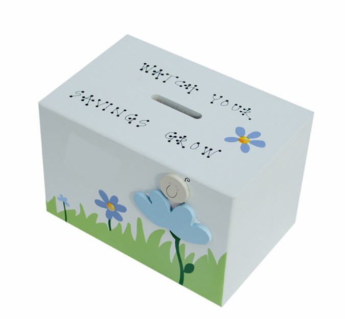 BABY BLUE FLOWER WOODEN MONEY BOX BM10