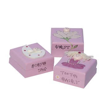 SET OF 3 WOODEN BABY GIRL TRINKET BOXES BT01