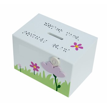 BABY PINK FLOWER WOODEN MONEY BOX BM09