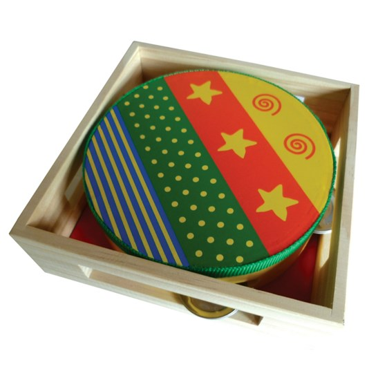 Childrens Wooden Musical Instrument - Tambourine - presented in wooden box