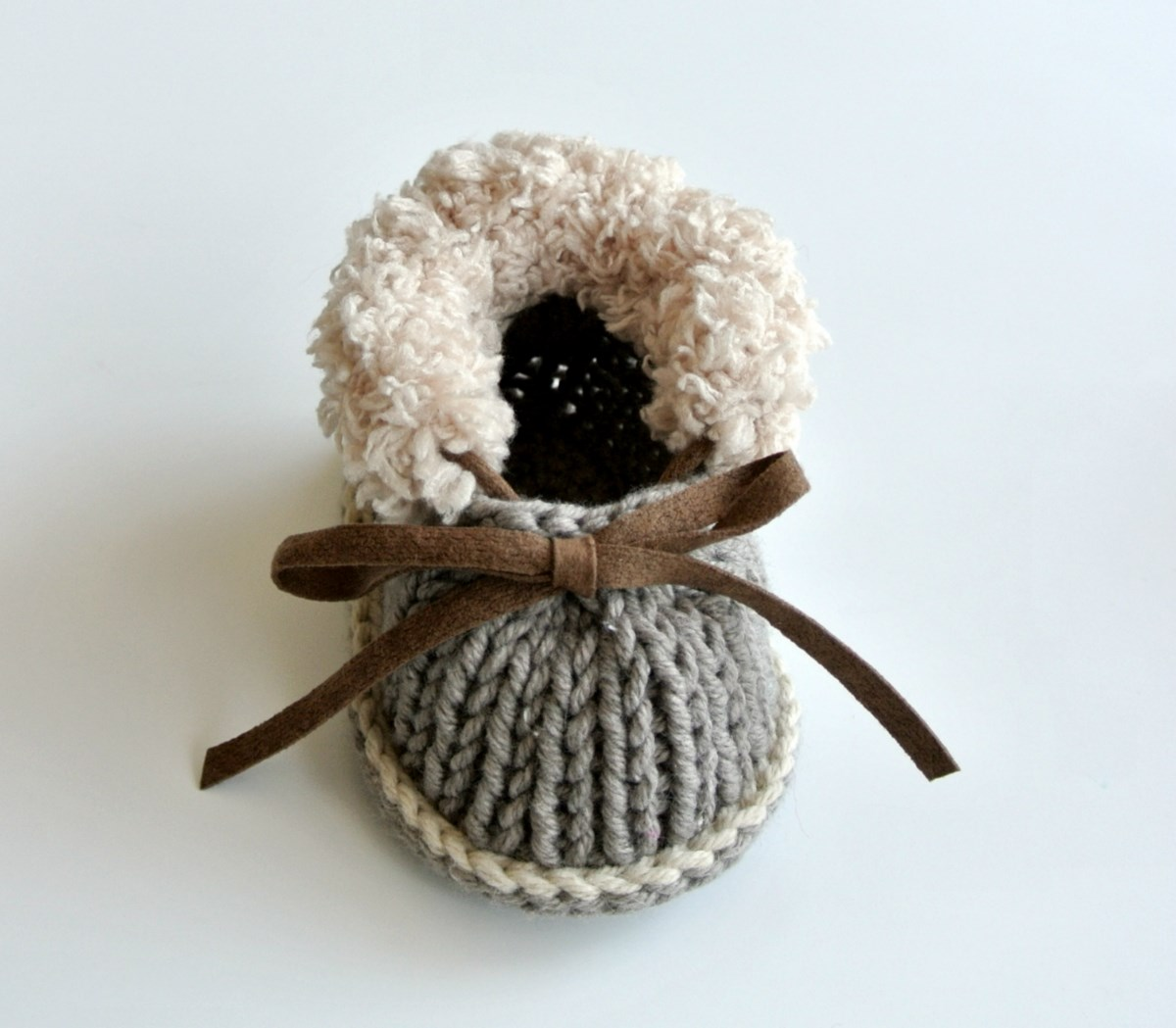 Beige Knit Baby Shoes