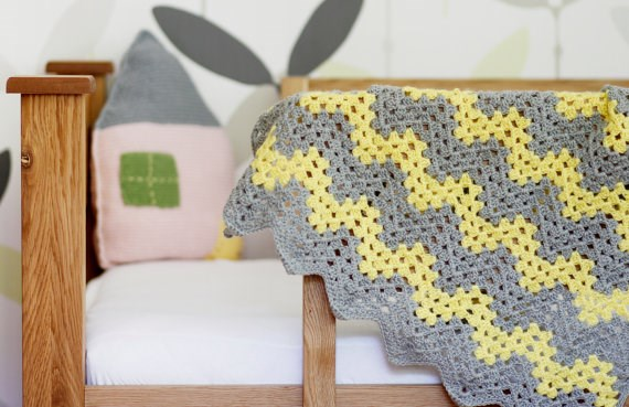 Crochet Grey & Yellow Blanket