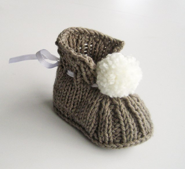 Pompom Knitted Baby Booties