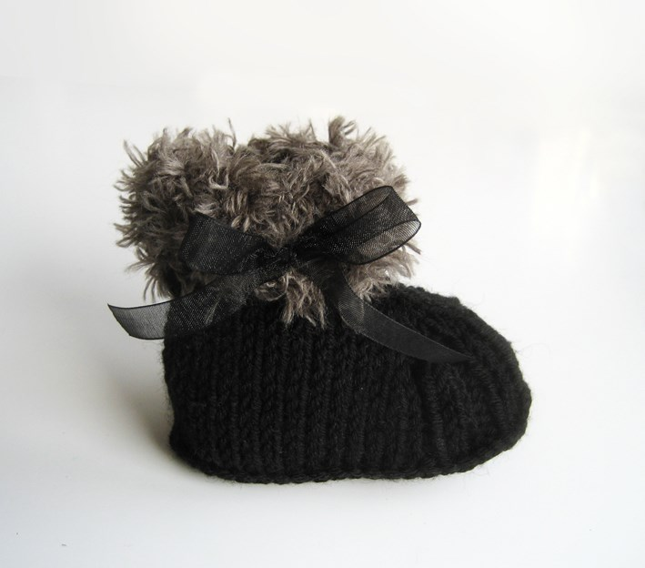 Black Furry Baby Booties