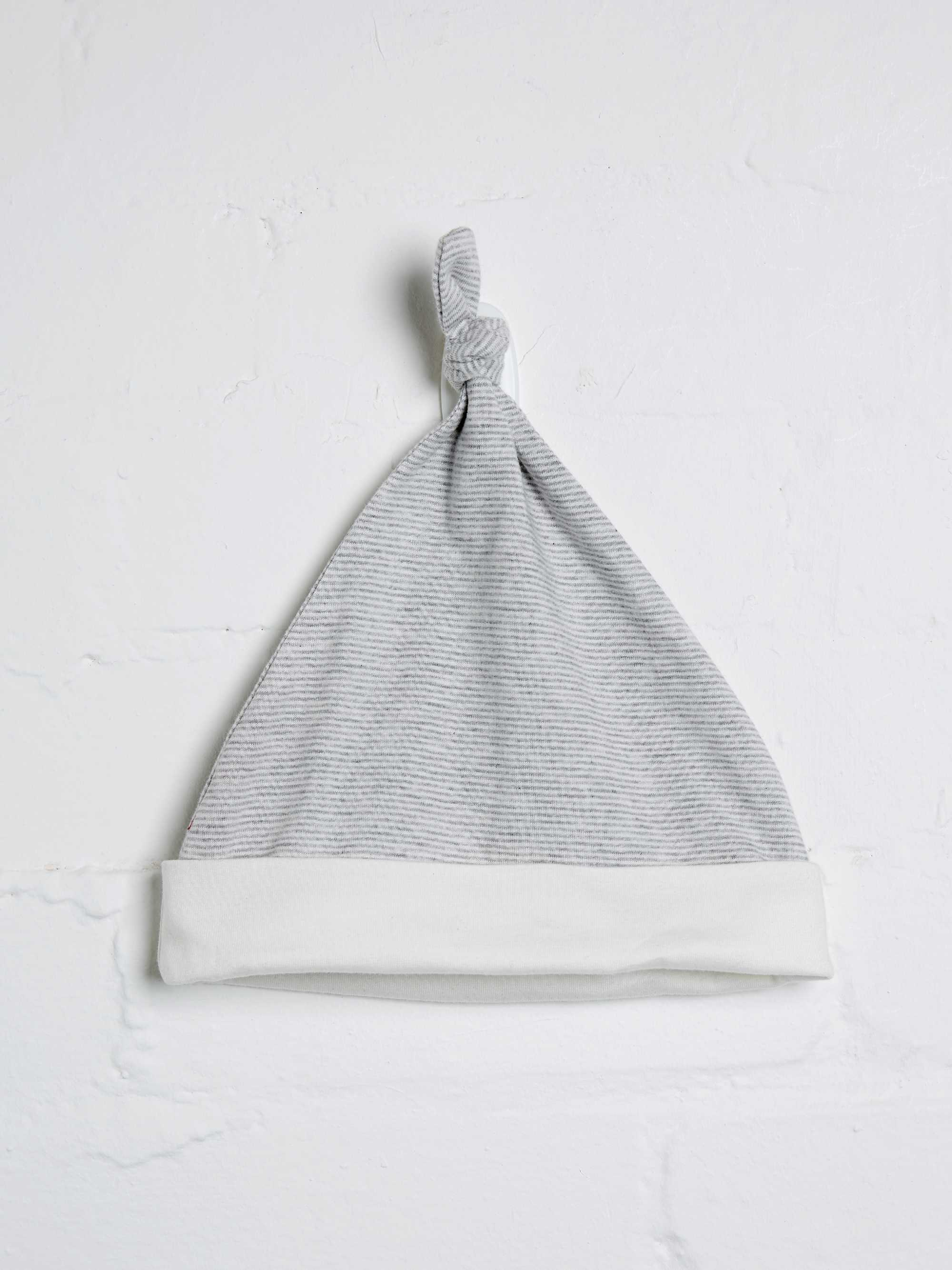 Unisex Grey Marl Stripe Knotted Hat