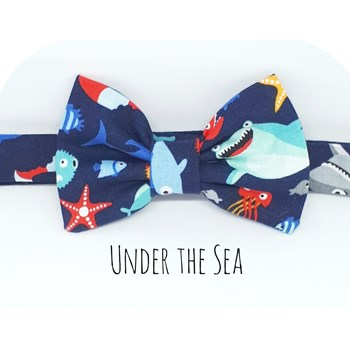 Boys Baby Bowtie Sealife Creatures Cotton Dickie Bowtie Birthday Bowtie - Boys Fish Shark Bowtie