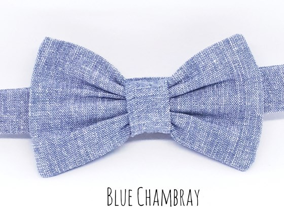 Boys Baby Bowtie Chambray Blue Organic Cotton Dickie Bowtie Birthday Bowtie