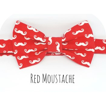 Boys Baby Bowtie Red Retro Mini Moustaches Dickie Bowtie Birthday Bowtie - Boys Moustaches Bowtie