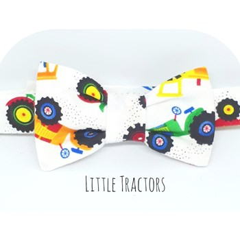 Boys Baby Bowtie Little Tractors Cotton Dickie Bowtie Birthday Bowtie  Boys Farm Tractors Bowtie