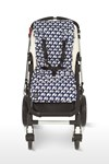 Universal Pram Pushchair Liner Navy and White Elephant Design Extra Long