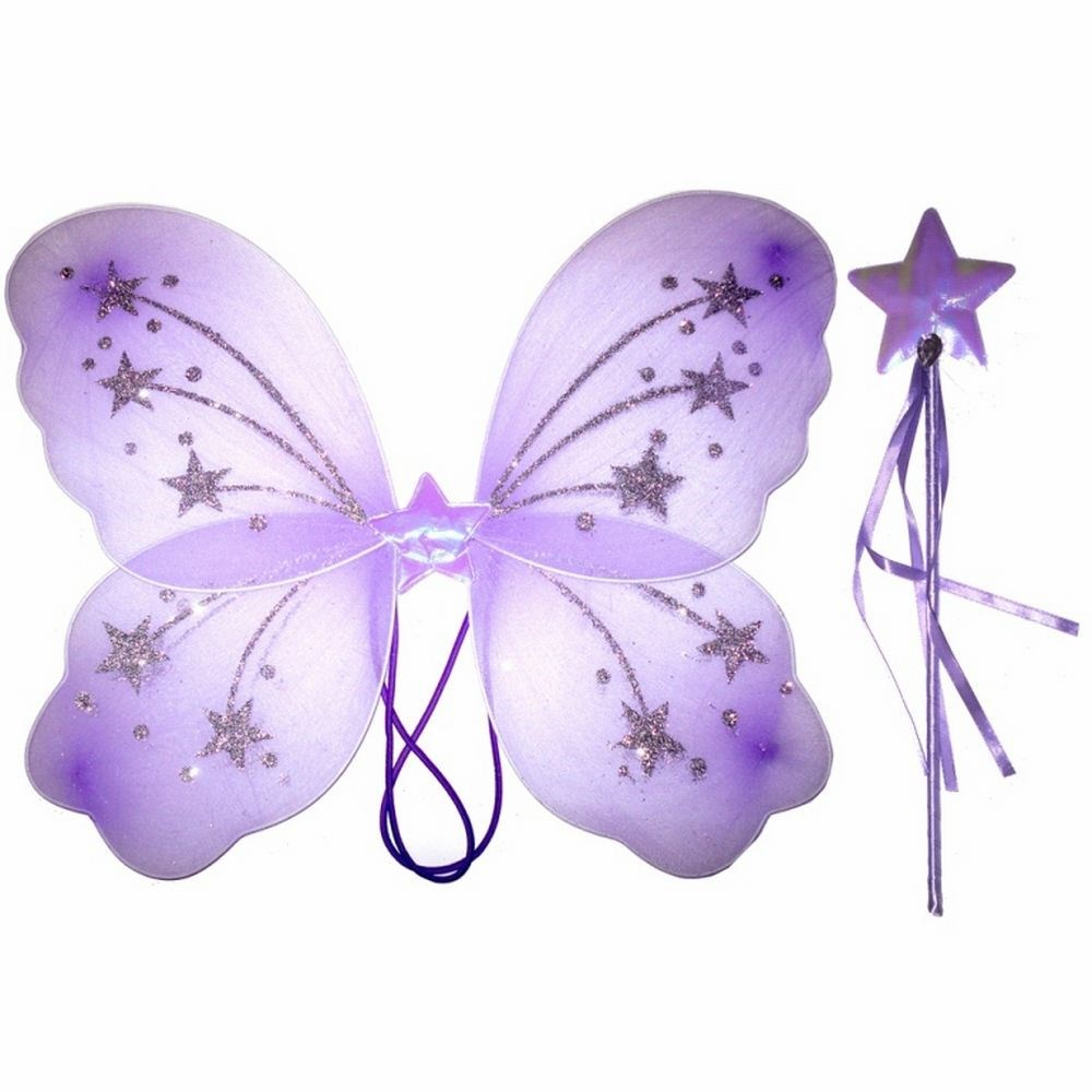 Dress UP Toddler Baby Girls Lilac Glitter Fairy Angel Wings With Wand
