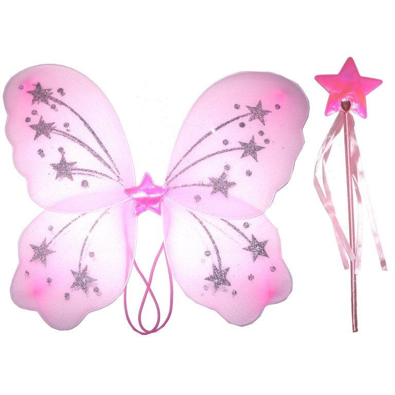 Dress UP Toddler Baby Girls Pink Glitter Fairy Angel Wings With Wand