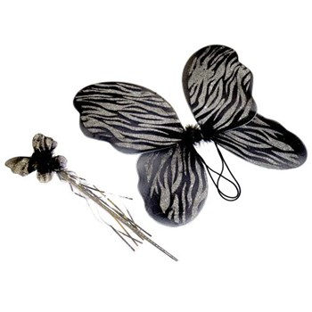 Fairy Wings and wand Black and silver glitter