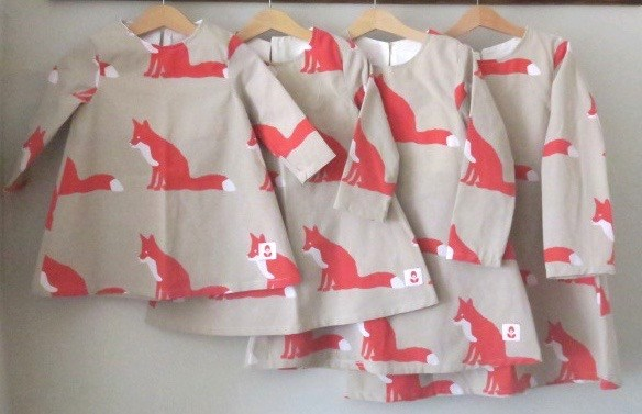 SALE Upcycled Fox Print Dress Age 1-2