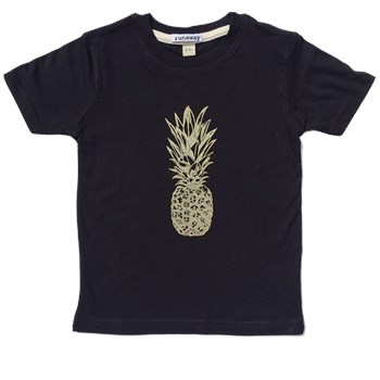 Pineapple Bling Gold on Black Unisex T-Shirt