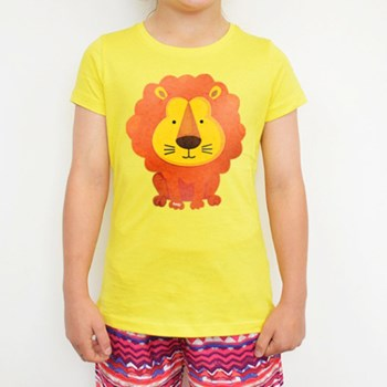 Lion Printed Yellow Tee