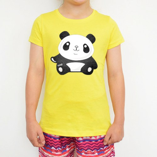 Panda Printed Yellow Tee
