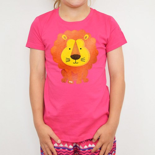 Lion Printed Raspberry Tee