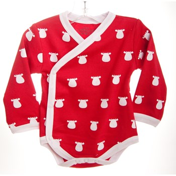 Red Long Sleeve Kimono Body - White Solid Cow