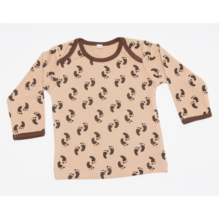 Sandy Brown Top with Footprints - Long Sleeve