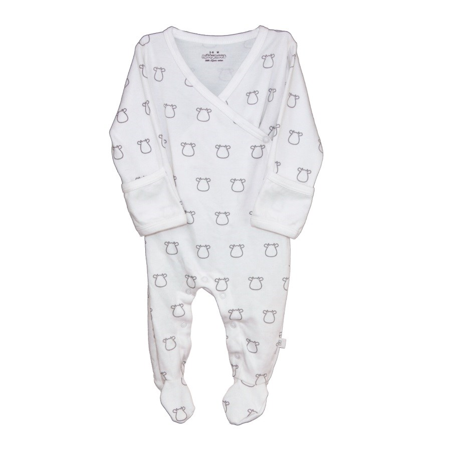 White Kimono Footed Romper Grey Outline Cow