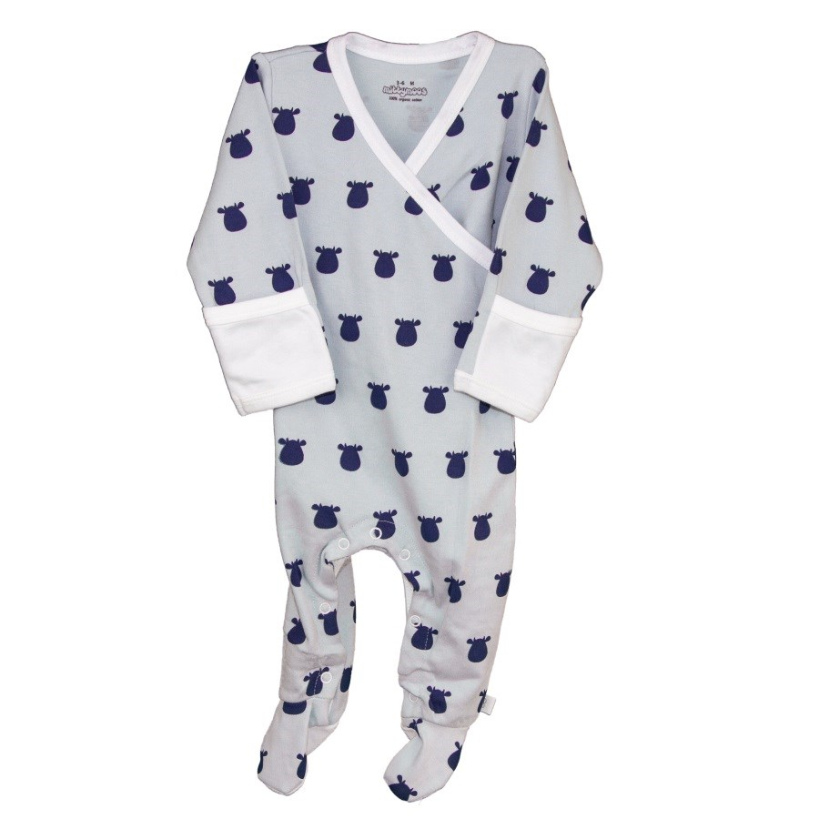 Blue Kimono Footed Romper with Dark Blue Solid Cow