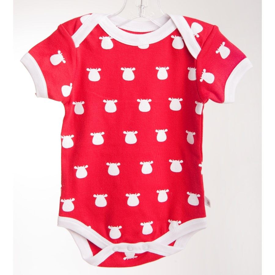 Red Short Sleeve Body - White Solid Cow