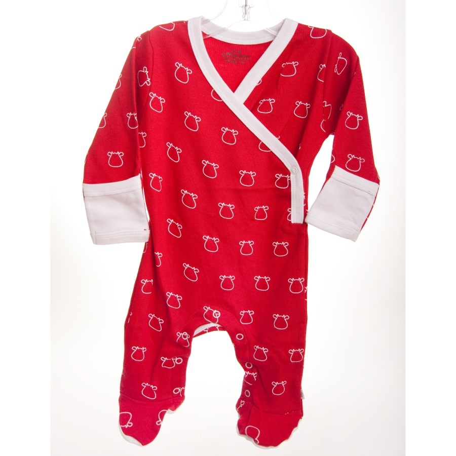 Red Kimono Footed Romper - White Outline Cow